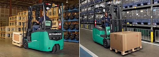 Xe nâng điện ngồi lái Mitsubishi có thể hoạt động nhiều giờ liên tục