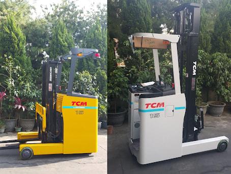 Xe nâng điện đứng lái TCM có thể hoạt động ở những khu vực nhỏ, hẹp, có giá kệ